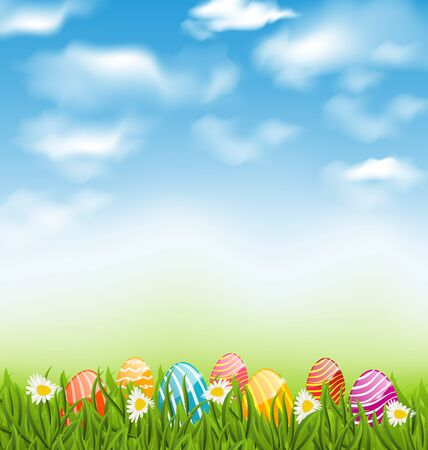 Illustration Easter natural landscape with traditional painted eggs in grass meadow, blue sky and clouds Stock Photo