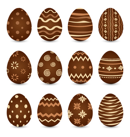 Illustration Easter set chocolate ornate eggs with shadows isolated on white background illustration