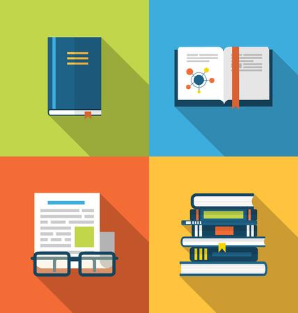 publish: Illustration flat icons design of handbooks, books and publish documents, long shadow style - raster