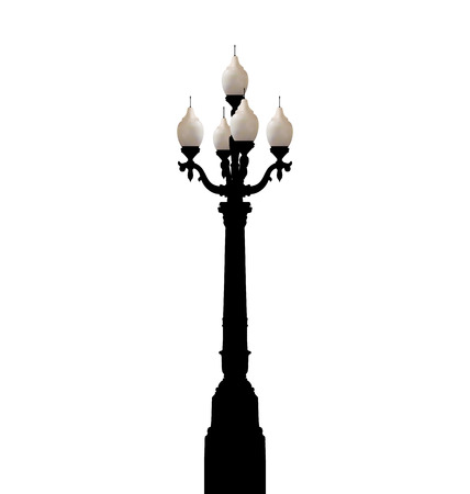 Illustration vintage forged lamppost isolated on white background illustration