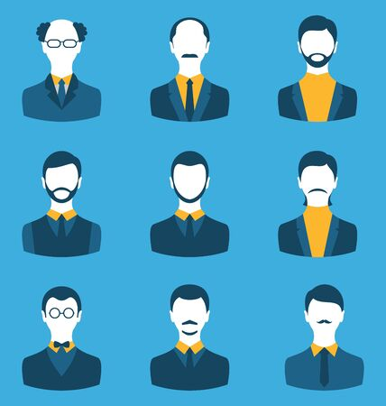 employe: Illustration set business people, front portrait of males isolated on blue background
