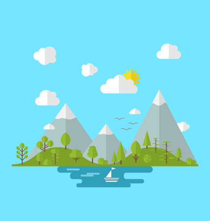 mounds: Illustration landscape woods valley hill forest land, nature background in flat style