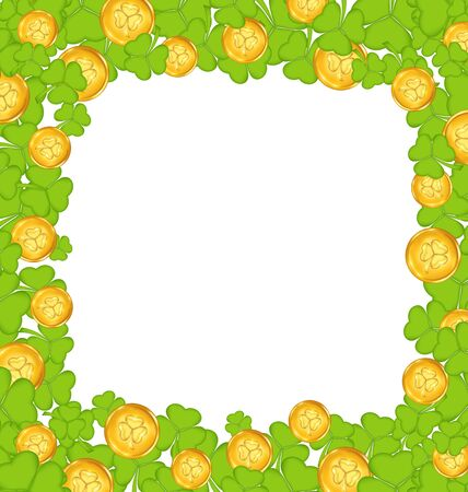 Illustration border with clovers and golden coins for St. Patricks Day illustration