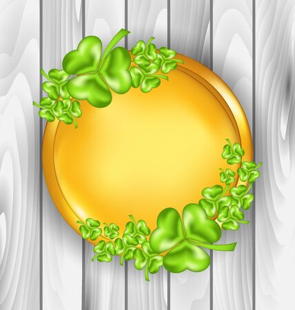 17th march: Illustration golden coin with shamrocks. St. Patricks day symbol, wooden texture