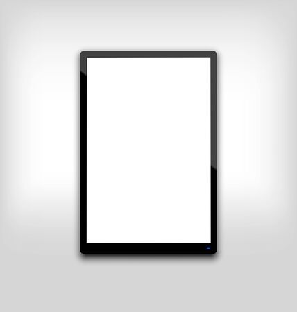 Illustration  black tablet pc computer blank white screen with light on blue led illustration