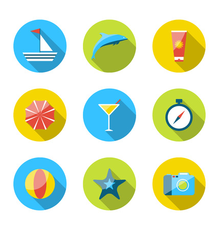 Illustration flat modern set icons of traveling, planning summer vacation, tourism and journey objects illustration