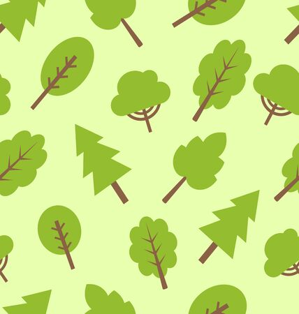 Illustration seamless pattern with different trees in flat style illustration