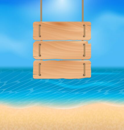 oceanside: Illustration blank wooden sign on beach, natural seascape