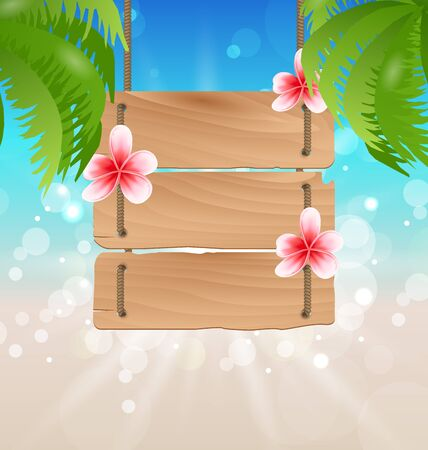 guidepost: Illustration hanging wooden guidepost with exotic flowers frangipani and palmtrees