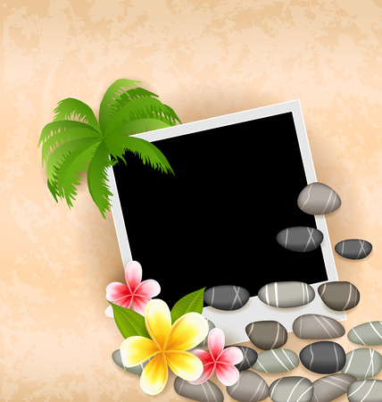 Illustration exotic natural background with empty photo frame, palm tree, flowers frangipani, sea pebbles