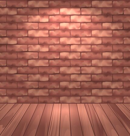 light brown: Illustration brown brick wall with wooden floor, empty room interior with light