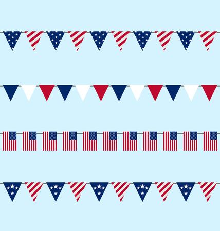 jul: Ilustraci�n Hanging banderines Bunting para D�a de la Independencia EE.UU., establecer indicadores Flap tradicionales