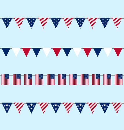 Illustration Hanging Bunting pennants for Independence Day USA, Set Traditional Flap Flags