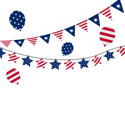 president of the usa: Illustration Bunting pennants for Independence Day USA, President Day, Washington Day, US Labor Day Stock Photo