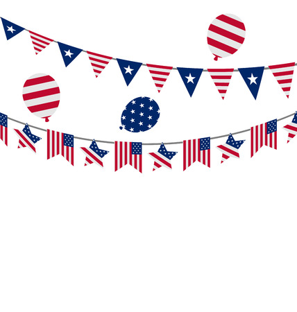 symbolic: Illustration Hanging Bunting pennants for Independence Day USA, Patriotic Symbolic Decoration for Holiday