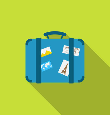 suitcase: Illustration flat modern icon of handle baggage with funky stickers and photoframes, long shadow design Stock Photo