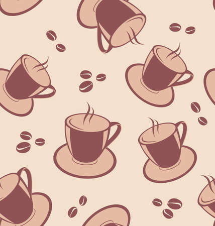 Illustration seamless pattern with coffee cups and beans illustration