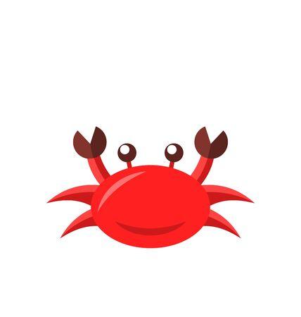 pinching: Illustration cartoon funny crab isolated on white background Stock Photo