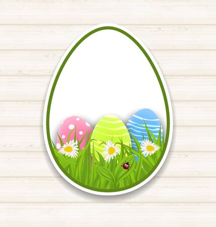 Illustration Easter paper sticker eggs with green grass and flowers