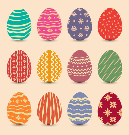 Illustration Easter set vintage ornate eggs with shadows illustration