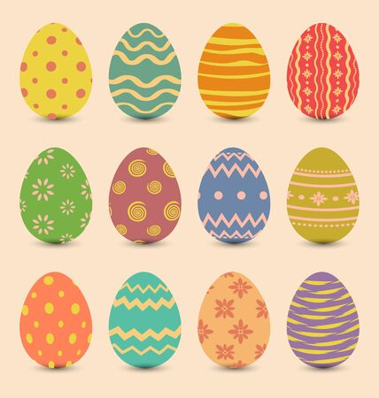 Illustration Easter set old ornamental eggs with shadows Stock Photo