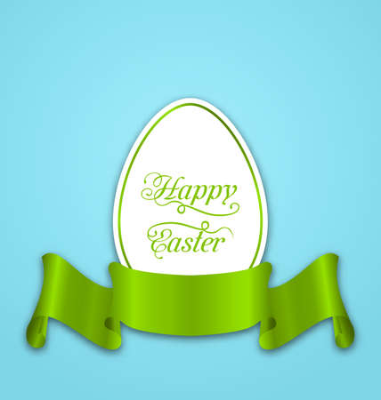 Illustration label with ribbon as Easter paper egg Stock Photo