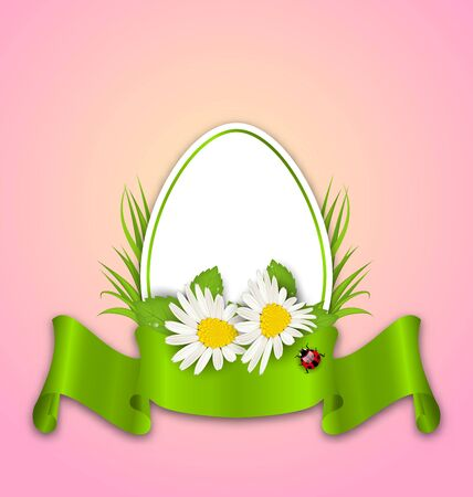 Illustration Easter paper egg with flowers daisy, grass, butterfly and ribbon illustration
