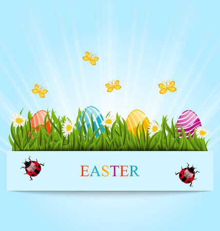 ostern: Illustration greeting card with Easter colorful eggs and camomiles in green grass Stock Photo