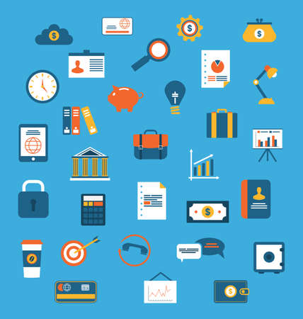 business diagram: Illustration set flat icons of web design objects, business, office and marketing items