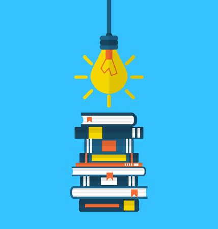 textbooks: Illustration concept education and learning, flat icons of heap textbooks and lightbulb