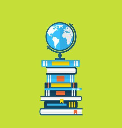 Illustration flat icons of globe and heap handbooks illustration
