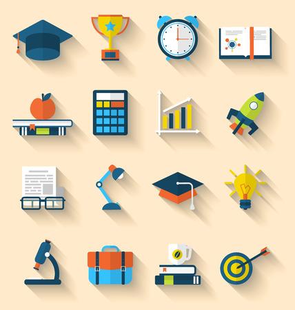 estudiando: Iconos planos Ilustraci�n de elementos y objetos para la escuela secundaria y la educaci�n universitaria con la ense�anza y el aprendizaje