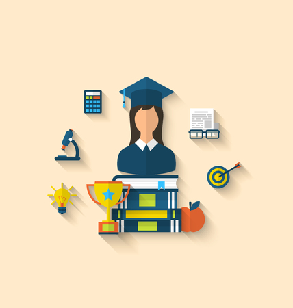 Illustration flat icons of magister female with graduation and objects for high school and college education with teaching and learning, long shadow style design illustration