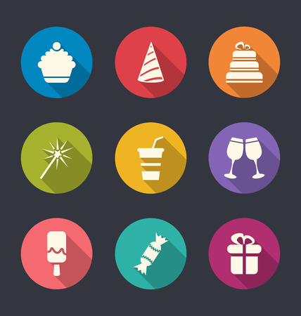 Illustration set flat icons of party objects with long shadows illustration
