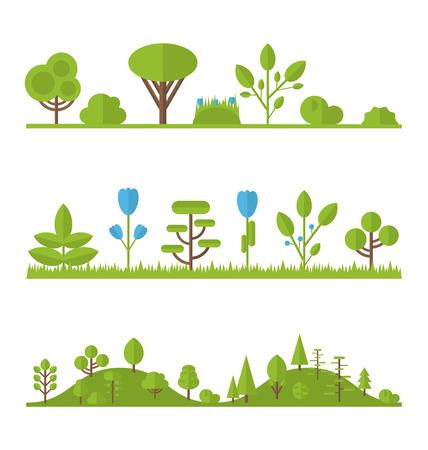 그림 컬렉션은 평면 아이콘 나무, 소나무는, 오크, 가문비 나무는 전나무는 정원 부시 흰색에 고립 된 집합 스톡 콘텐츠