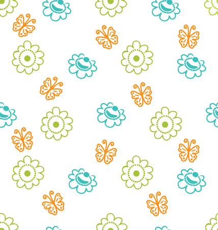 Illustration Seamless Texture with Flowers and Butterflies, Elegance Pattern illustration