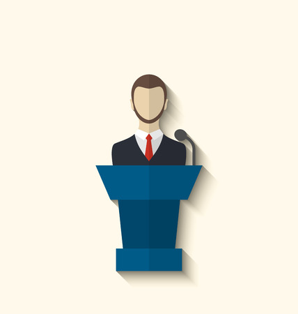 Illustration flat icon of orator speaking from rostrum, long shadow style