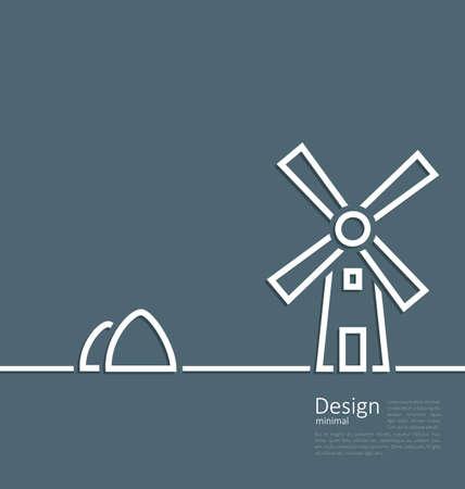 haystack: Illustration village landscape windmill haystack