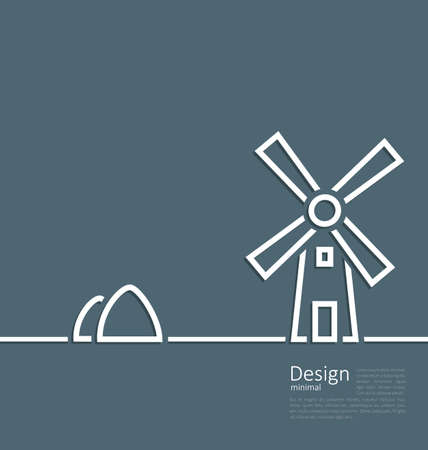 haymow: Illustration village landscape windmill haystack