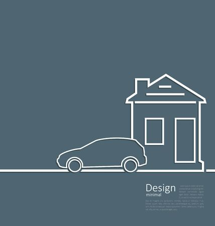 parking car: Web template house and parking car symbol in minimal flat style Stock Photo
