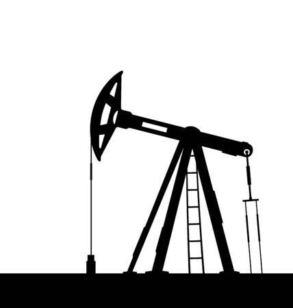 oilfield: Illustration oil pump jack for petroleum isolated on white background