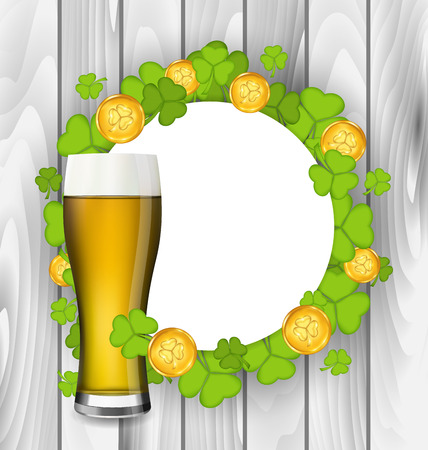 17th of march: Illustration celebration card with glass of light beer, shamrocks and golden coins for St. Patricks Day, wooden background