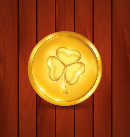 17th: Illustration golden coin with clover on brown wooden texture for St. Patricks Day Stock Photo