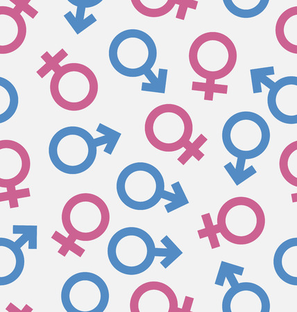raster sex: Illustration Seamless Pattern of Gender Icons, Wallpaper of Male and Female symbols - raster