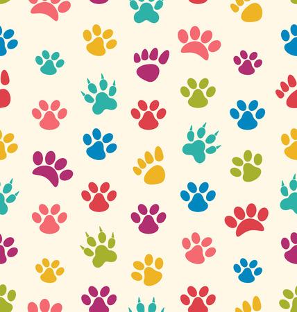 Ilustracja bez szwu teksturę z Ślady kotów, psów. Odciski łap Zwierzęta - rastrowe