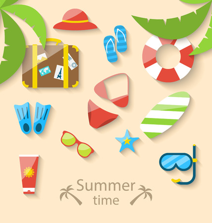 vacation time: Illustration summer vacation time with flat set colorful simple icons