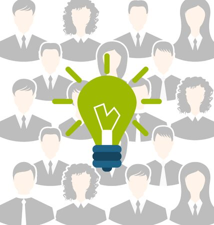 to gather: Illustration group of business people gather together, process of generating idea