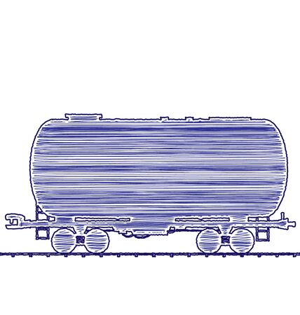 cistern: Illustration petroleum cistern wagon freight railroad train, hand drawing ink pen style transportation icon - isolated on white Stock Photo