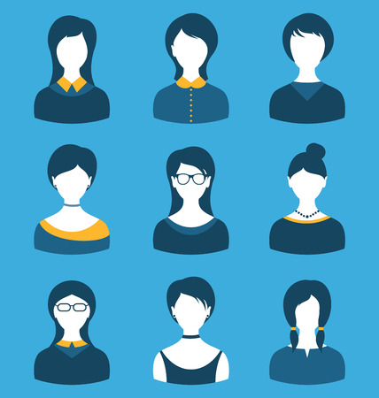 employe: Illustration set female characters, front portrait, isolated on blue background Stock Photo
