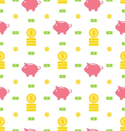 Illustration Seamless Pattern with Moneybox, Bank Notes, Coins, Flat Finance Icons - Vector Vector